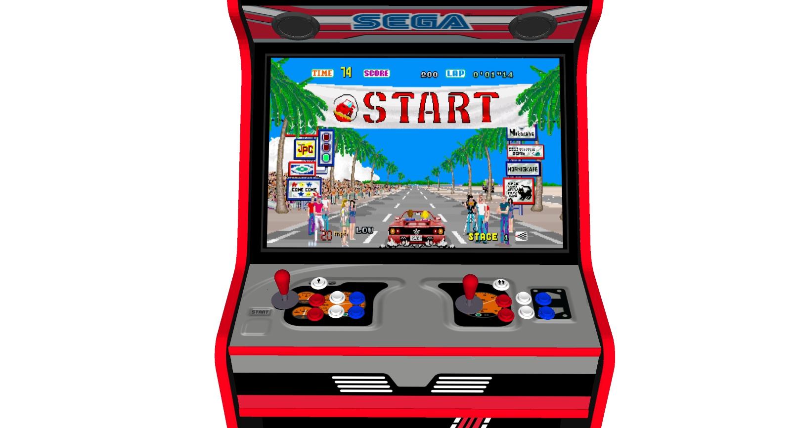 Outrun - 27 Inch Upright Arcade Machine - American Style Joysticks - Red Tmold - centre