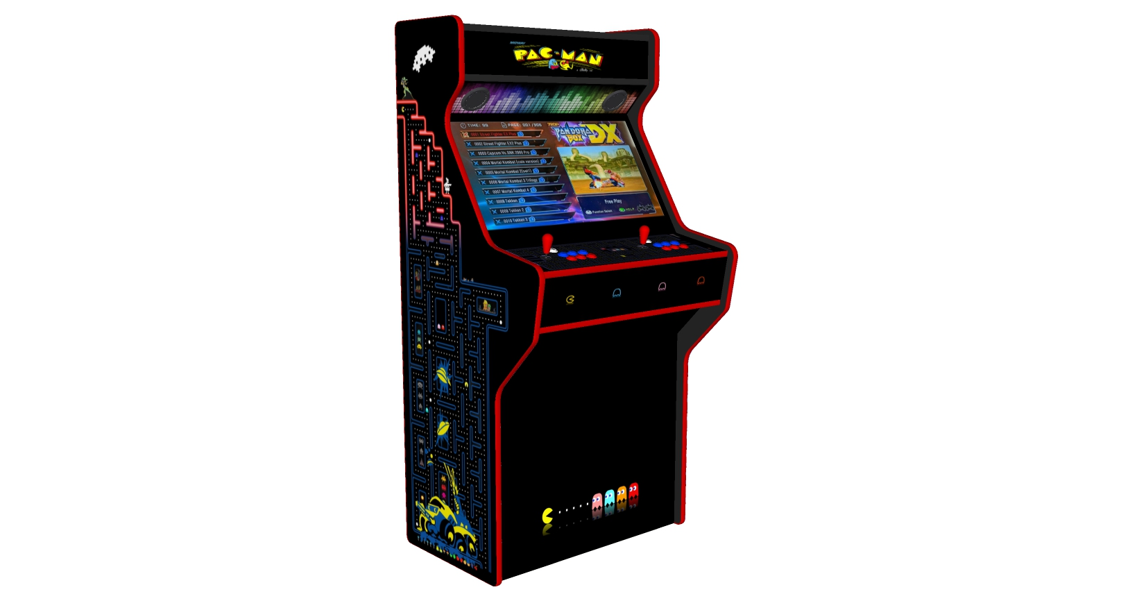 PacMan - 32 Inch Upright Arcade Machine - American Style Joysticks - Red Tmold - Left - 3btns