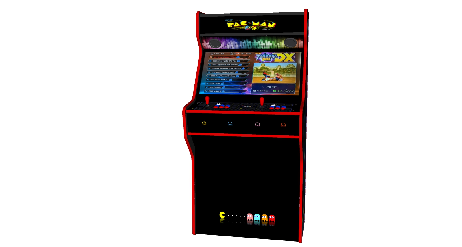 PacMan - 32 Inch Upright Arcade Machine - American Style Joysticks - Red Tmold - Middle - 3btns