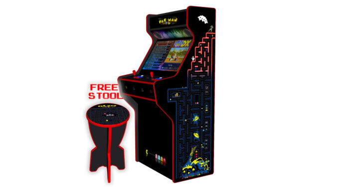 PacMan - 32 Inch Upright Arcade Machine - American Style Joysticks - Red Tmold - Right - 3btns