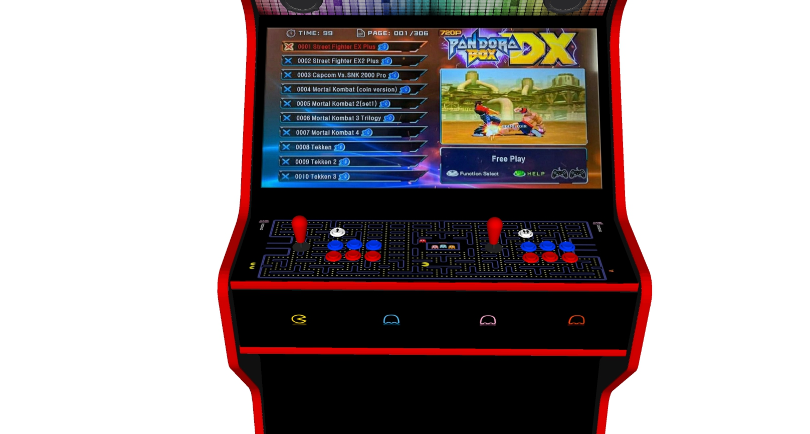 PacMan - 32 Inch Upright Arcade Machine - American Style Joysticks - Red Tmold - centre - 3btns