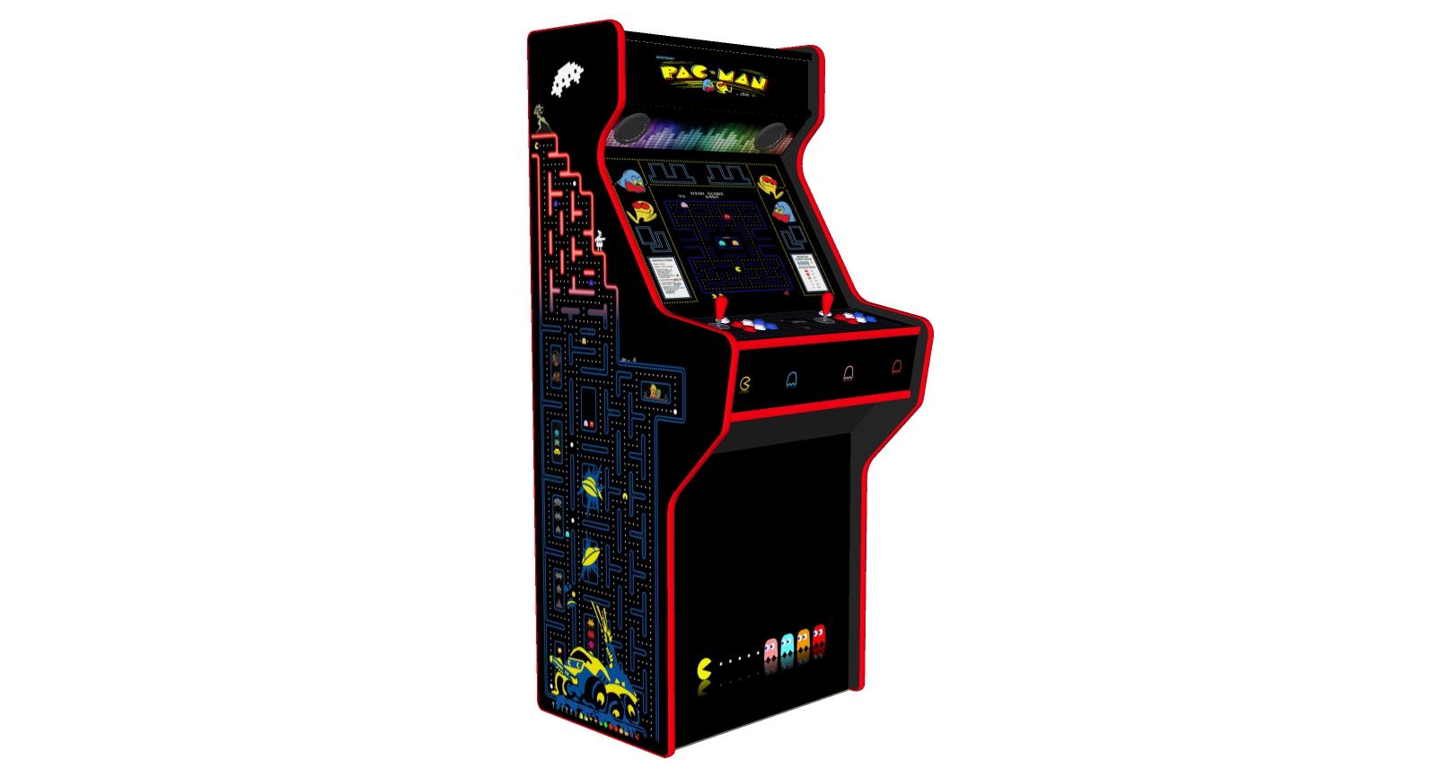 Pacman 27 Inch Upright Arcade Machine - American Style Joysticks - Red Tmold - Left