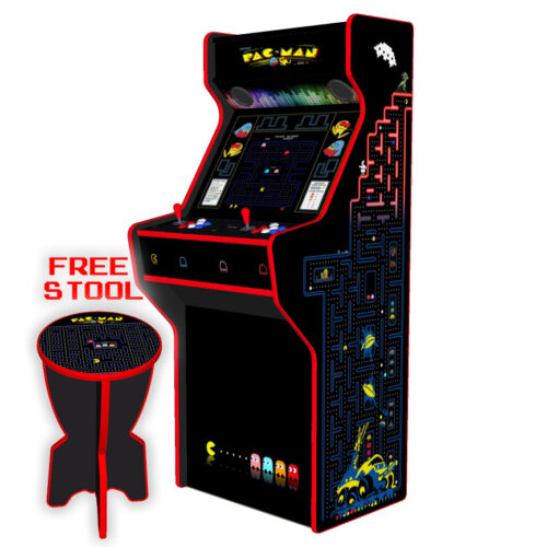 Pacman-27-Inch-Upright-Arcade-Machine-American-Style-Joysticks-Red-Tmold-Right-free-stool