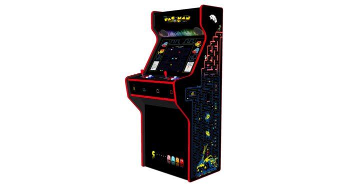 Pacman-27-Inch-Upright-Arcade-Machine-American-Style-Joysticks-Red-Tmold-Right-free-stool