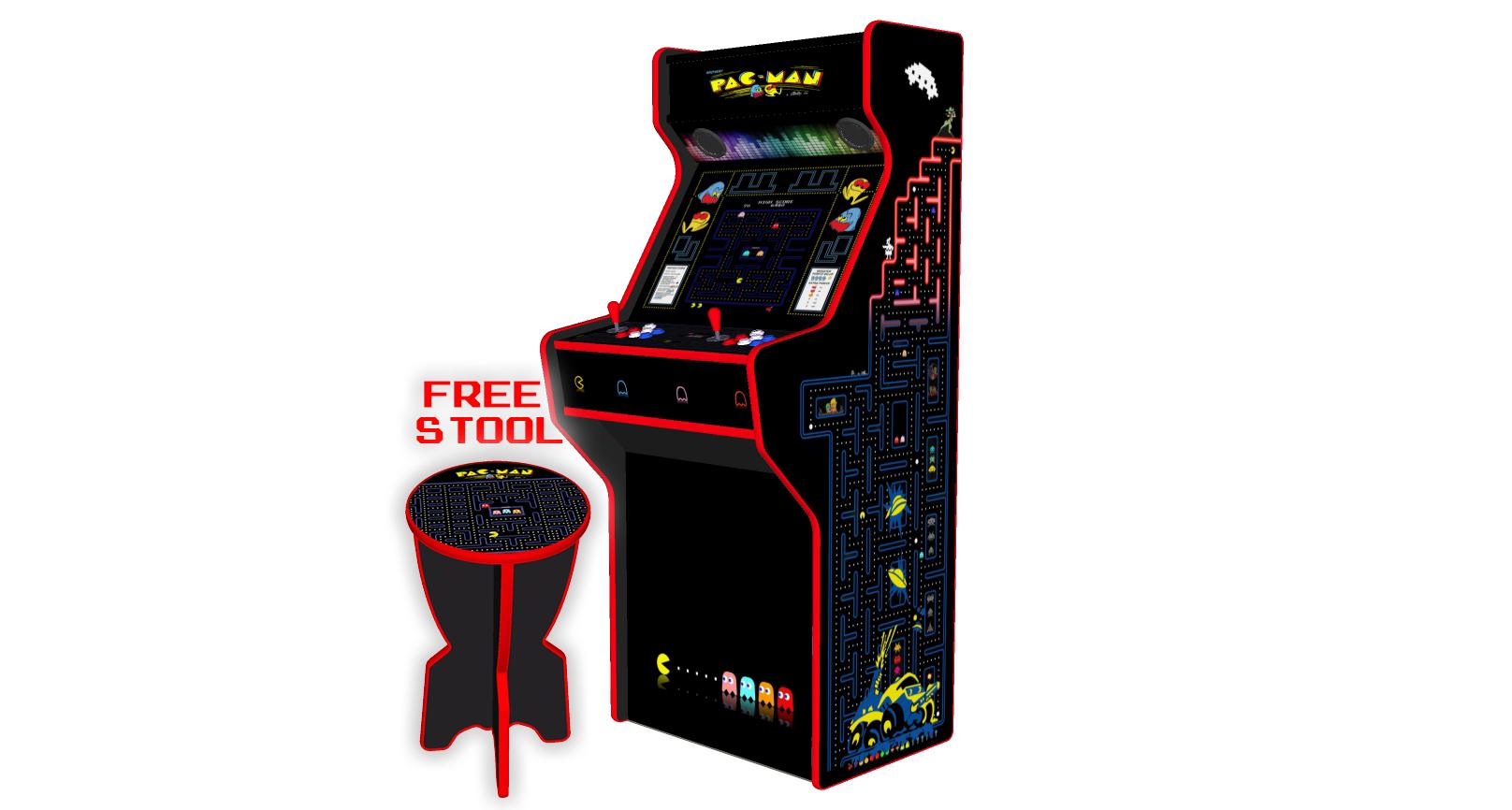 Pacman 27 Inch Upright Arcade Machine - American Style Joysticks - Red Tmold - Right