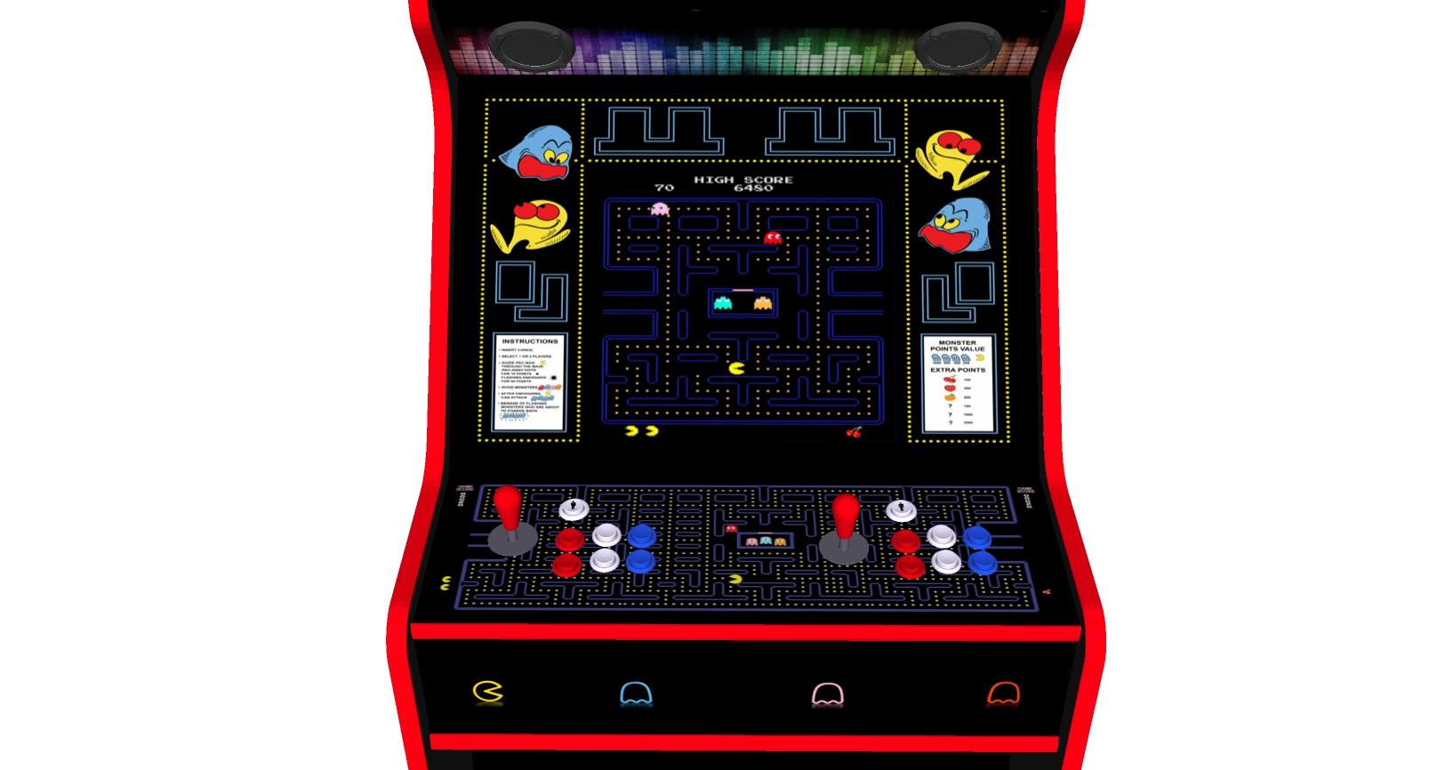 Pacman 27 Inch Upright Arcade Machine - American Style Joysticks - Red Tmold - centre