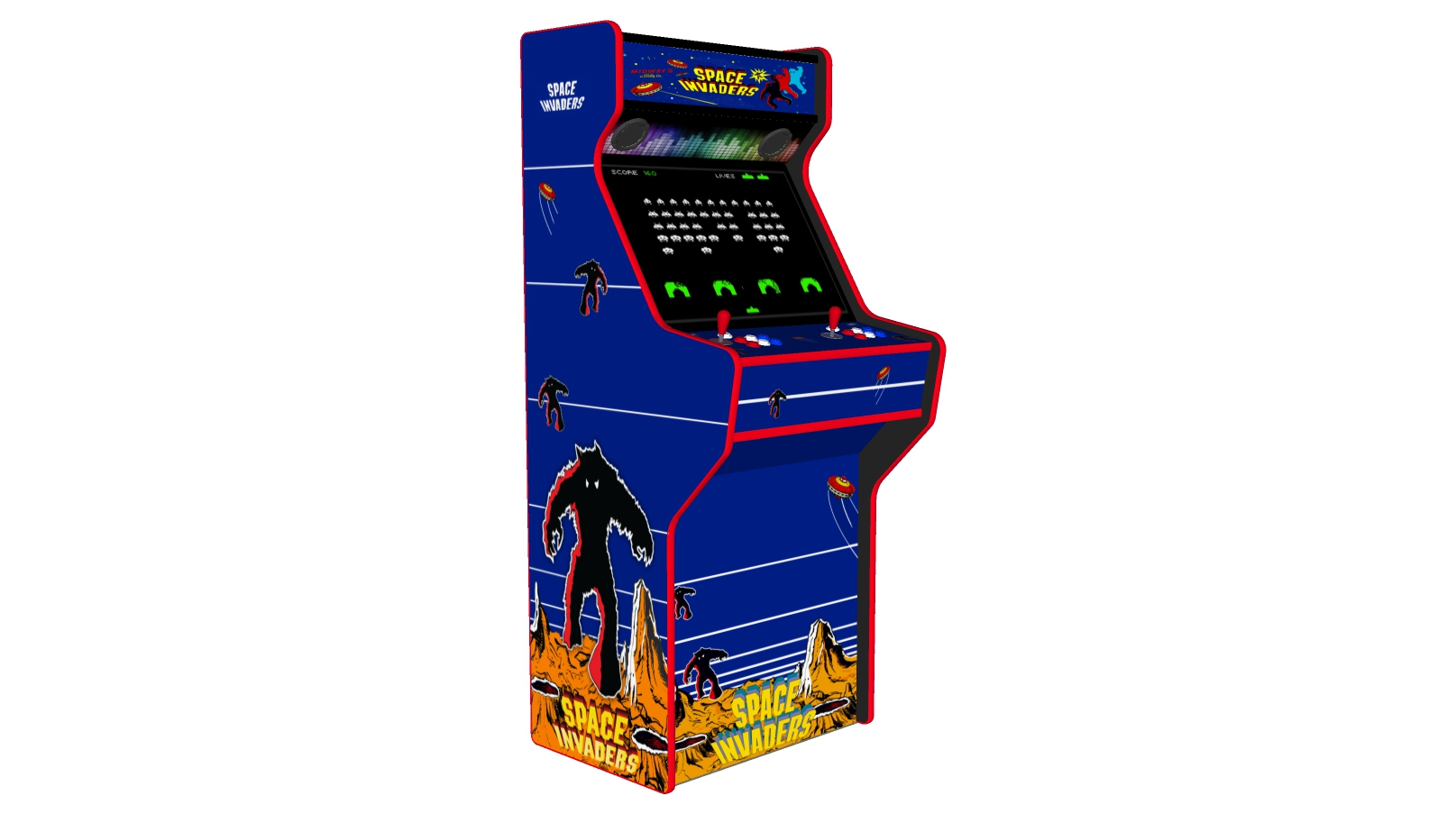 Space Invaders - 27 Inch Upright Arcade Machine - American Style Joysticks - Red Tmold - Left