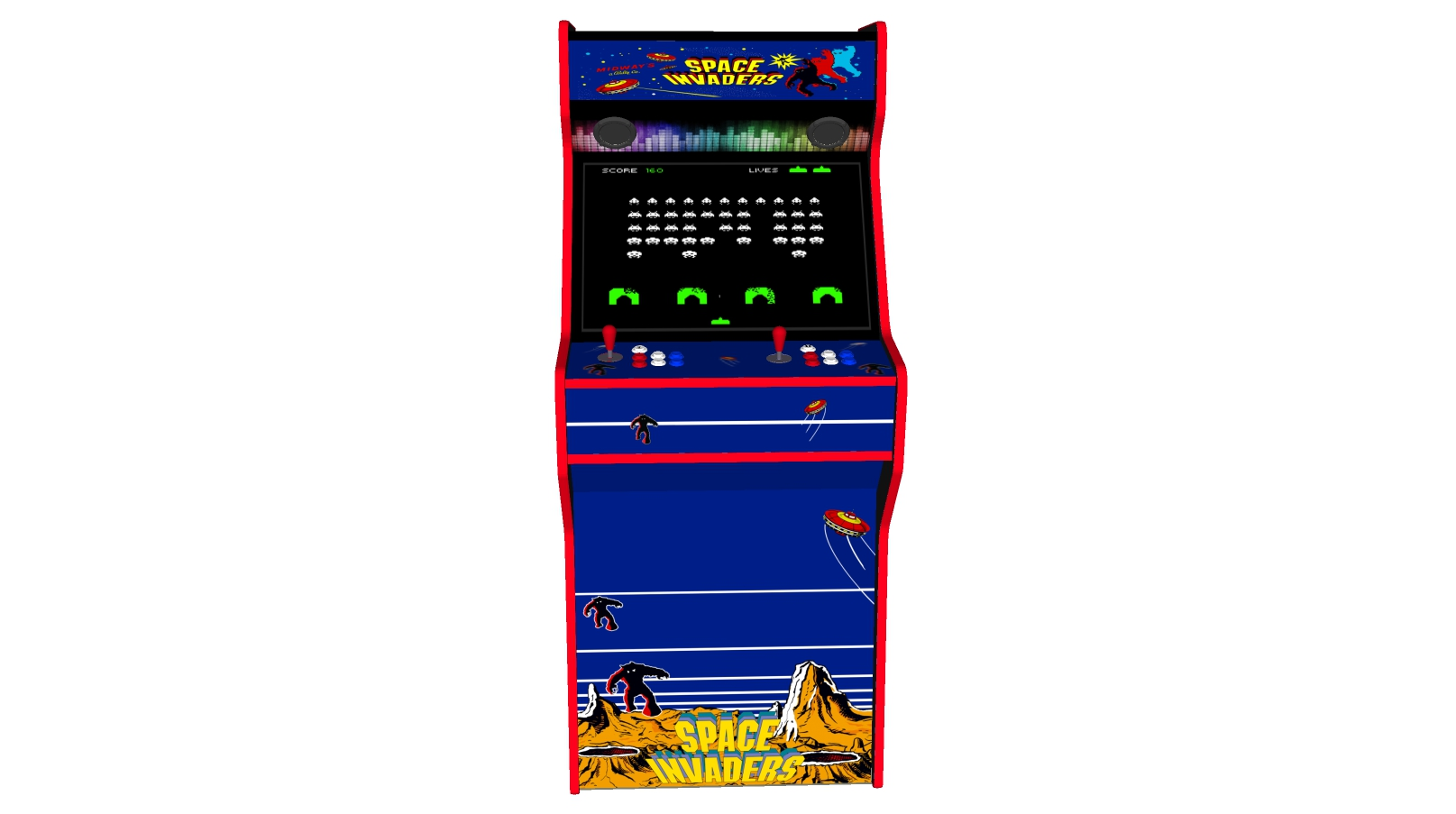 Space Invaders - 27 Inch Upright Arcade Machine - American Style Joysticks - Red Tmold - Middle