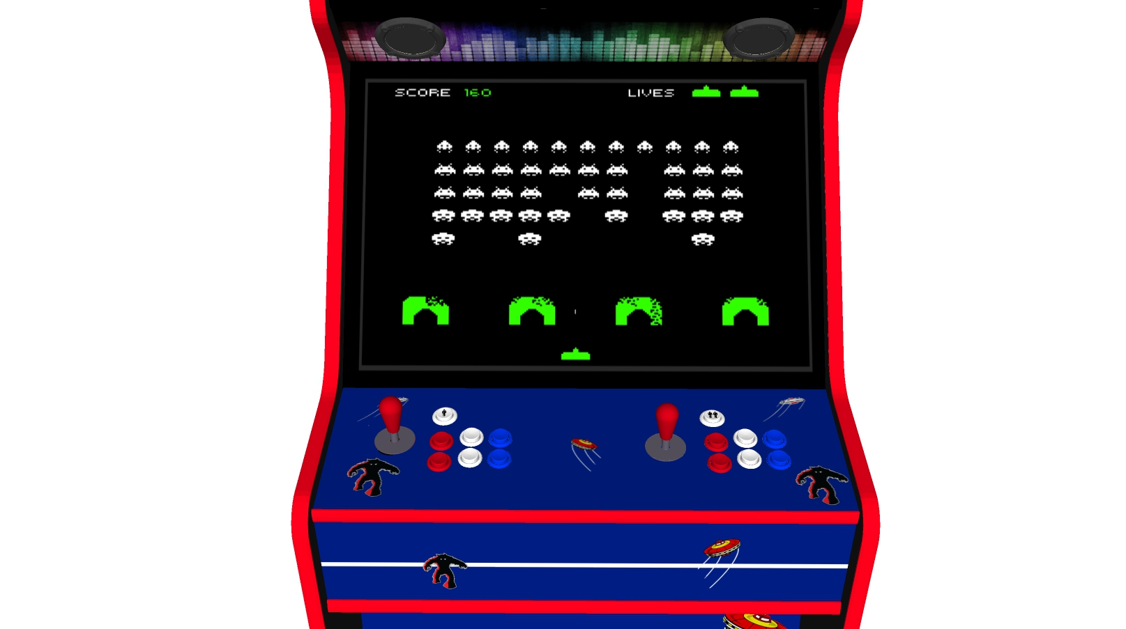 Space Invaders - 27 Inch Upright Arcade Machine - American Style Joysticks - Red Tmold - centre