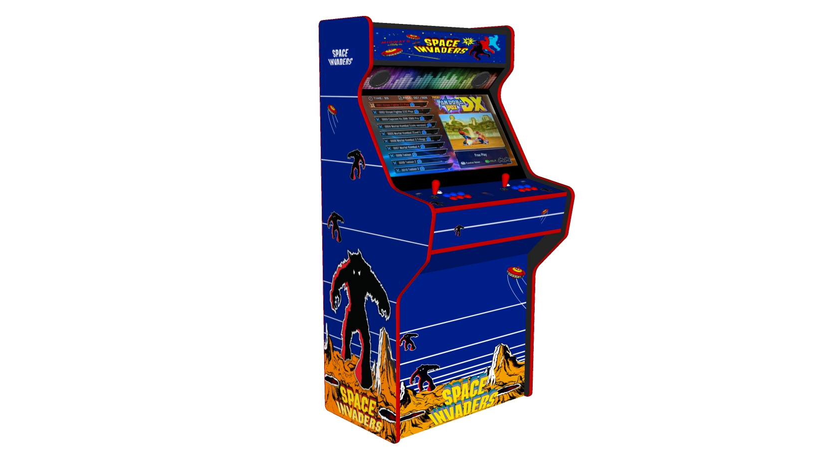 Space Invaders - 32 Inch Upright Arcade Machine - American Style Joysticks - Red Tmold - Left - 3btns
