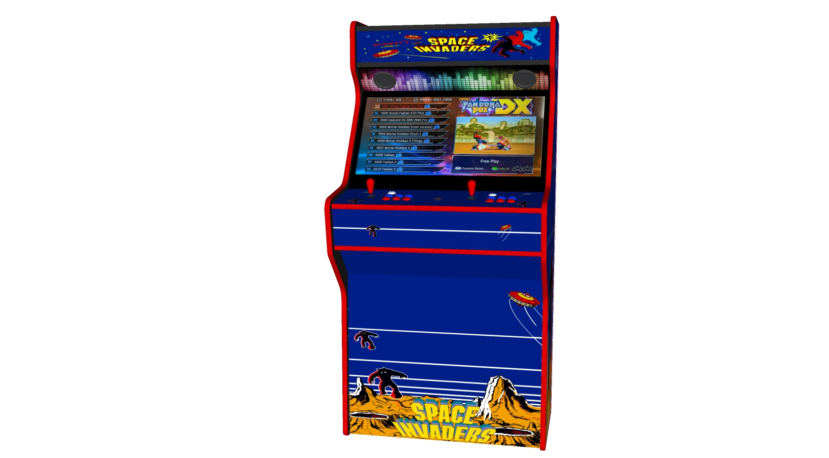 Space Invaders - 32 Inch Upright Arcade Machine - American Style Joysticks - Red Tmold - Middle - 3btns