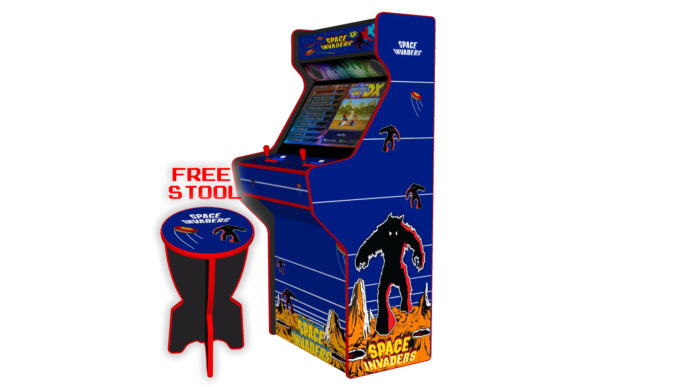 Space Invaders - 32 Inch Upright Arcade Machine - American Style Joysticks - Red Tmold - Right - 3btns
