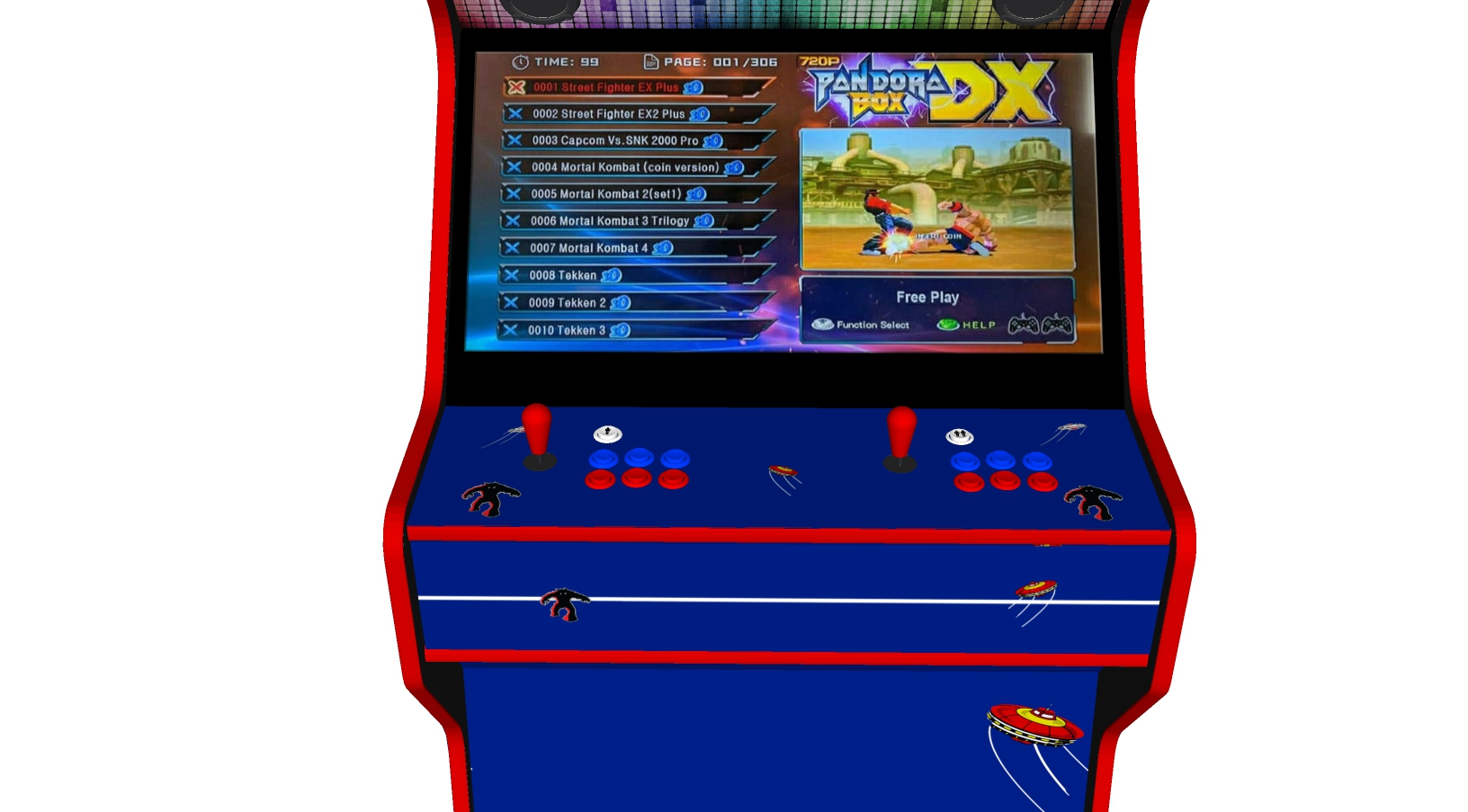 Space Invaders - 32 Inch Upright Arcade Machine - American Style Joysticks - Red Tmold - centre - 3btns