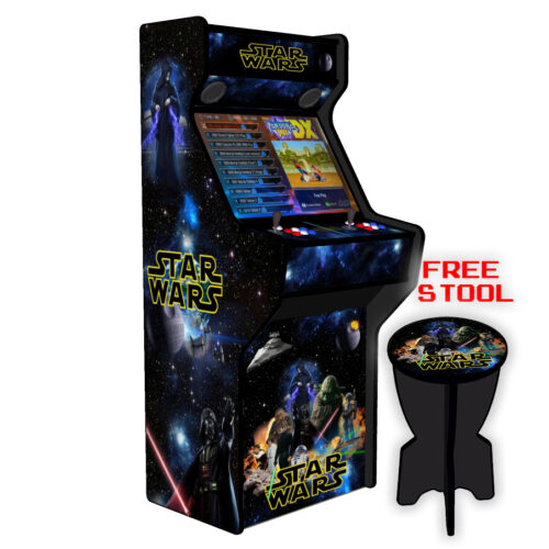 Star-Wars-27-Inch-Upright-Arcade-Machine-American-Style-Joysticks-Black-Tmold-left-free-stool