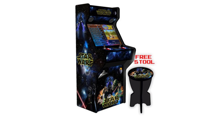 Star-Wars-27-Inch-Upright-Arcade-Machine-American-Style-Joysticks-Black-Tmold-left-free-stool