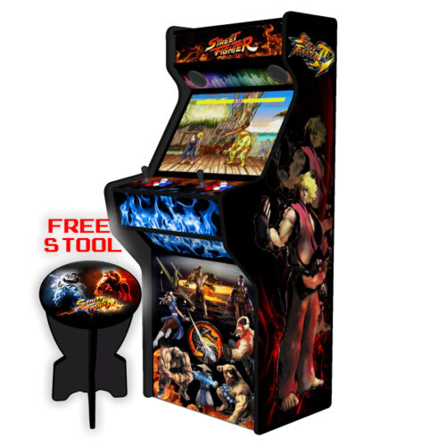 Street-Fighter-27-Inch-Upright-Arcade-Machine-American-Style-Joysticks-Black-Tmold-Right-free-stool