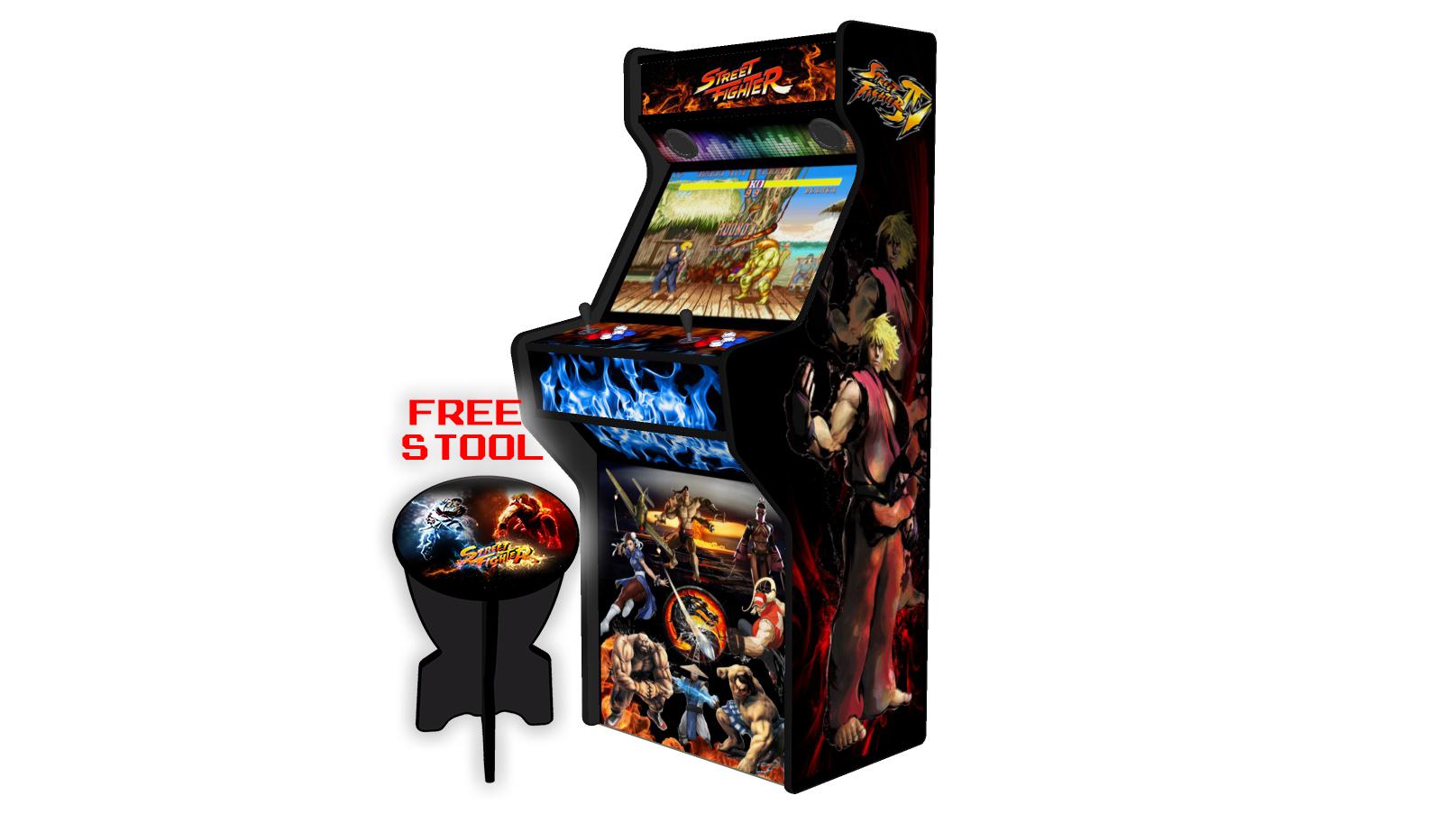 Street-Fighter-27-Inch-Upright-Arcade-Machine-American-Style-Joysticks-Black-Tmold-Right-free-stool