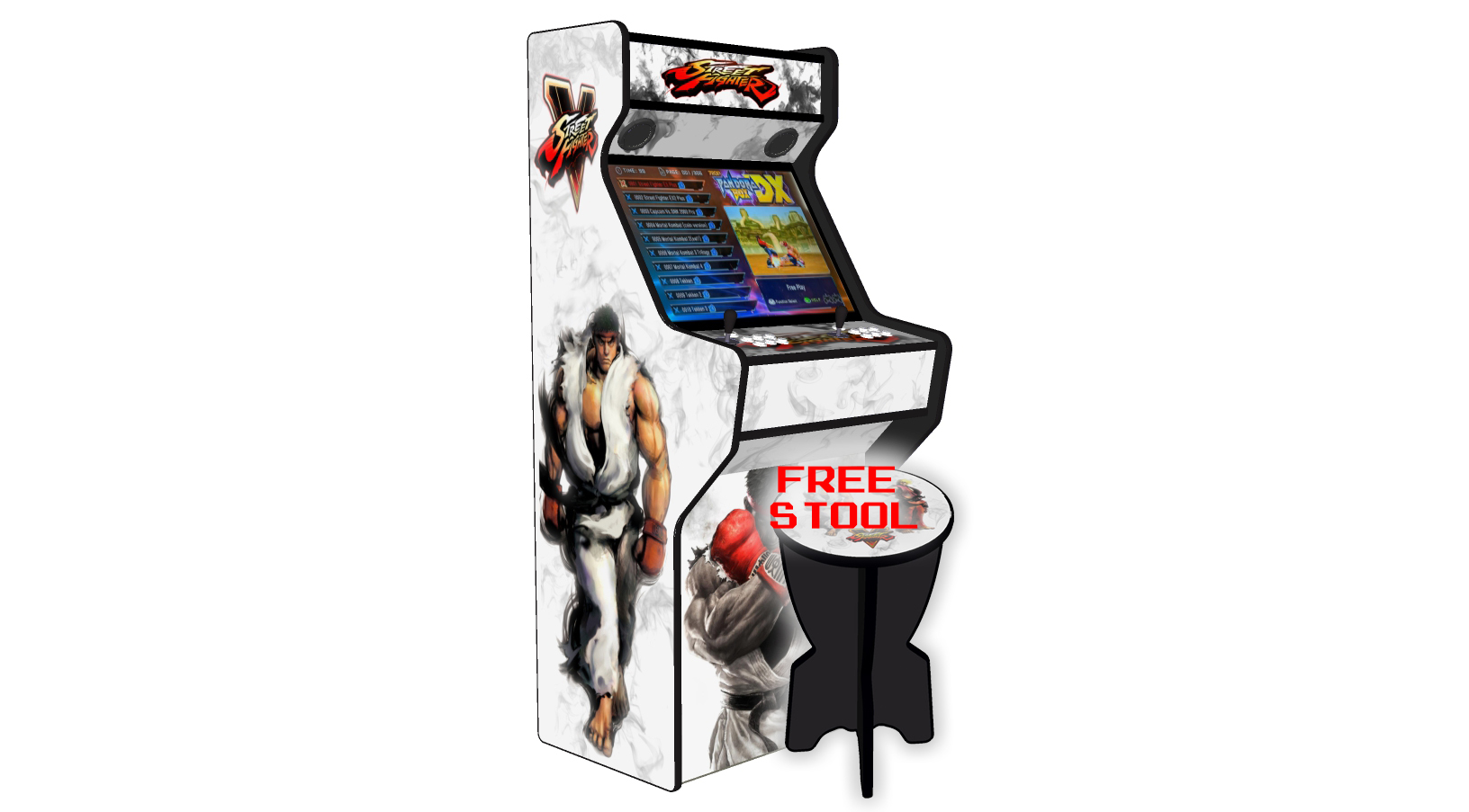 Street Fighter 5 - 27 Inch Upright Arcade Machine - American Style Joysticks - Red Tmold - Left