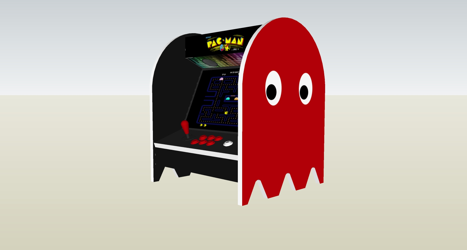 The PacMan Blinky Ghost Bartop Arcade Machine - right