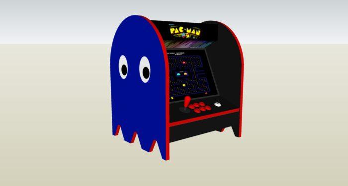The PacMan Blue Ghost Bartop Arcade Machine - left