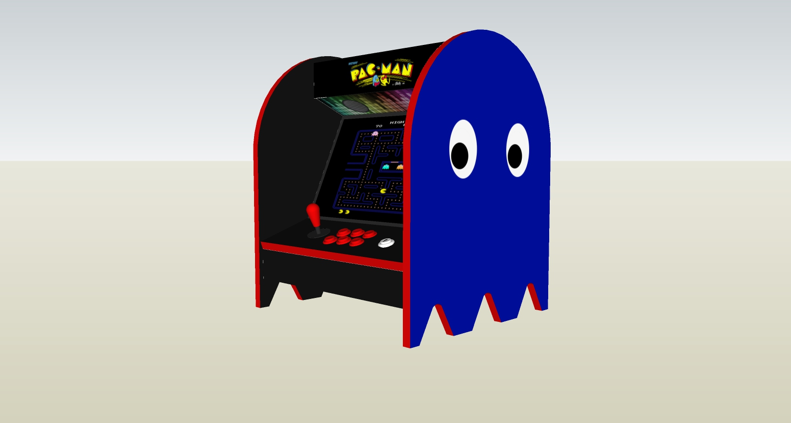 The PacMan Blue Ghost Bartop Arcade Machine - right