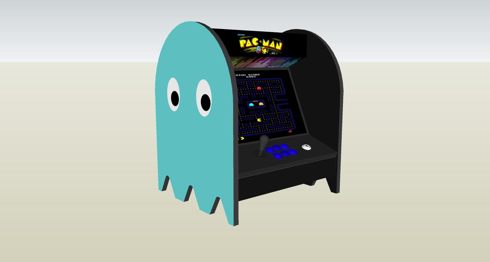The PacMan Inky Ghost Bartop Arcade Machine - left