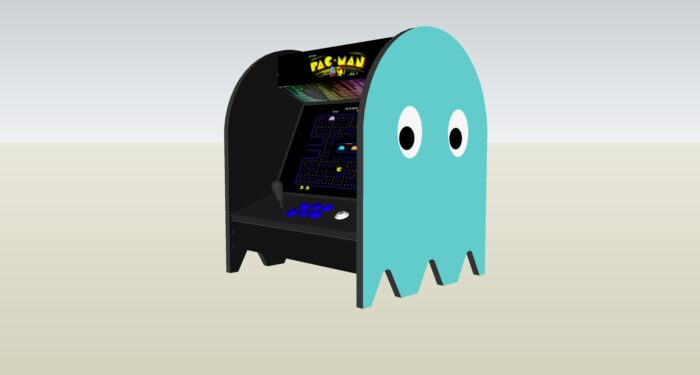 The PacMan Inky Ghost Bartop Arcade Machine - right