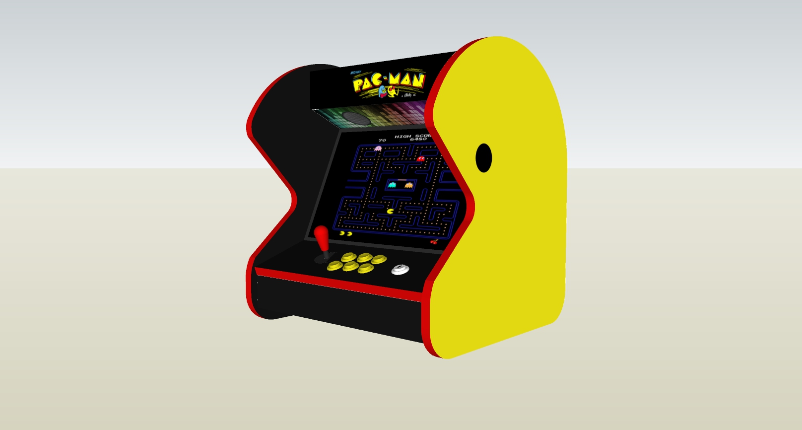 The PacMan Yellow Bartop Arcade Machine - right