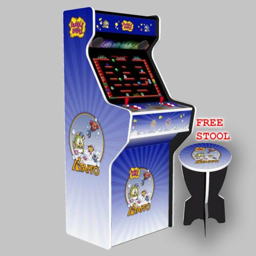 Bubble Bobble - 27 Inch Upright Arcade Machine - American Style Joysticks - white Tmold -left and stool
