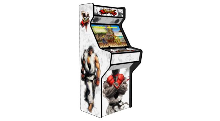 Street Fighter 5 White - 27 Inch Upright Arcade Machine - American Style Joysticks - Black Tmold - 5 btns - left