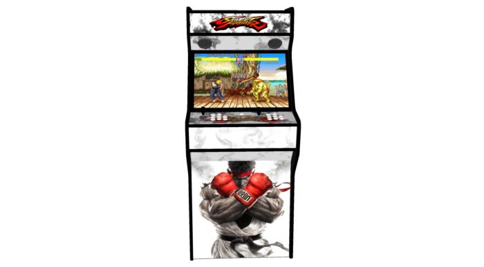 Street Fighter 5 White - 27 Inch Upright Arcade Machine - American Style Joysticks - Black Tmold - 5 btns - middle