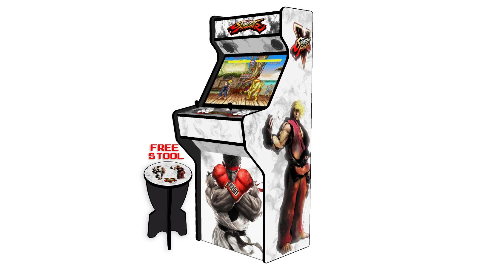Street Fighter 5 White - 27 Inch Upright Arcade Machine - American Style Joysticks - Black Tmold - 5 btns - right