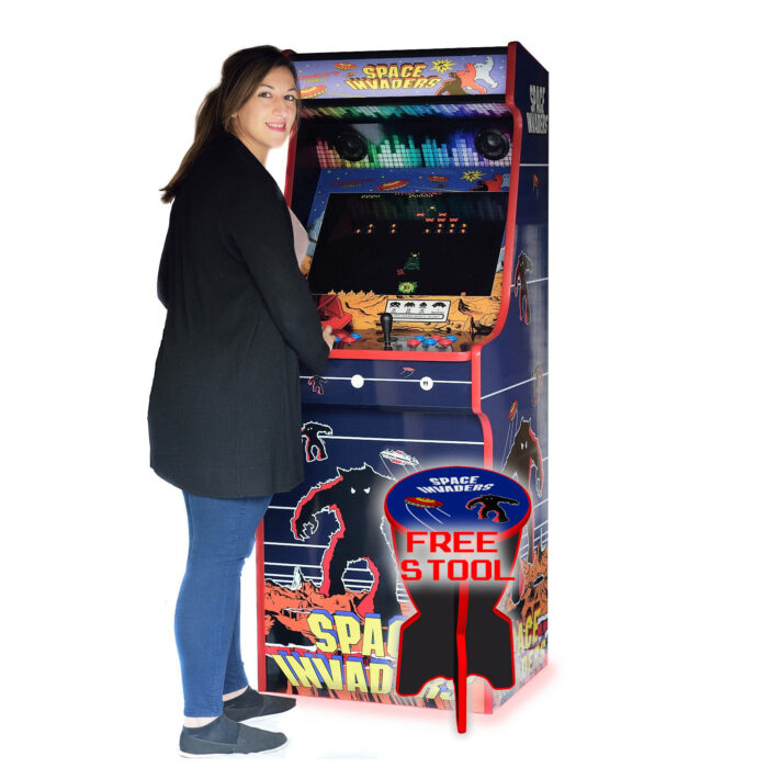 Classic-Upright-Arcade-Machine-Space-Invaders-Theme-Playing-stool