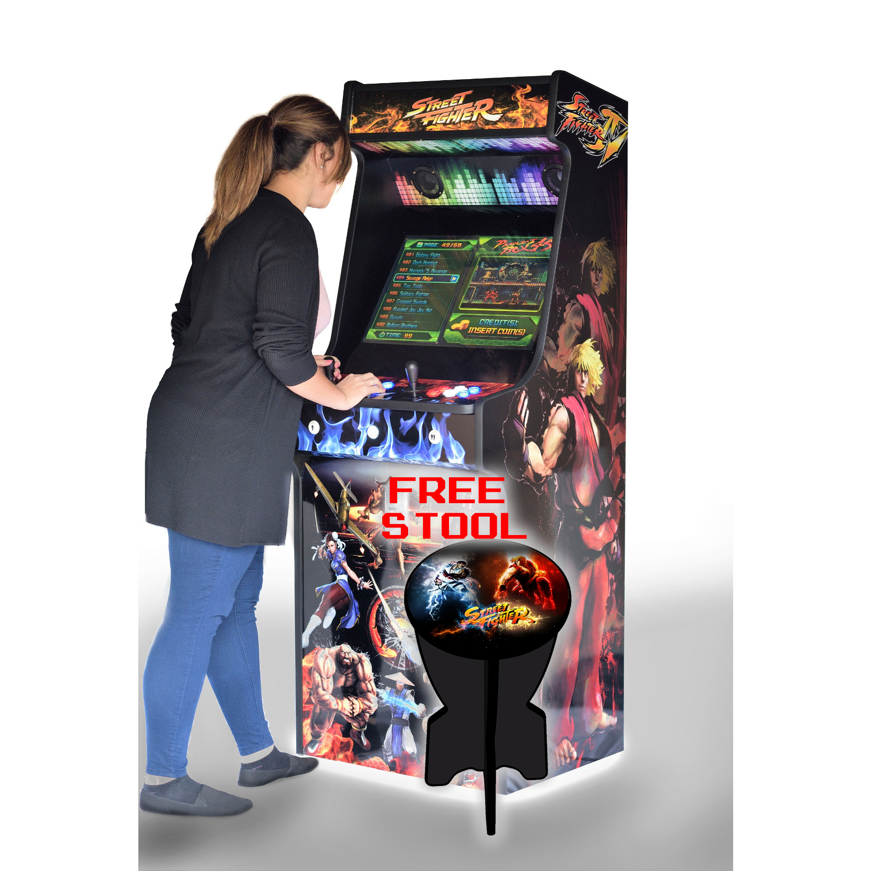 Classic-Upright-Arcade-Machine-Street-Fighter-Theme-With-illuminated-Buttons-and-Coin-Slot-Playing-free-stool